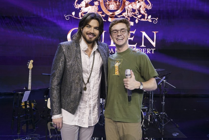 """Burroughs with celebrity guest mentor Adam Lambert. Since first appearing on """"American Idol"""" in 2009, Lambert has gone on to release four albums, has appeared in numerous hit television series and is currently touring the U.S. with Queen.  (ABC/Eric McCandless)"""