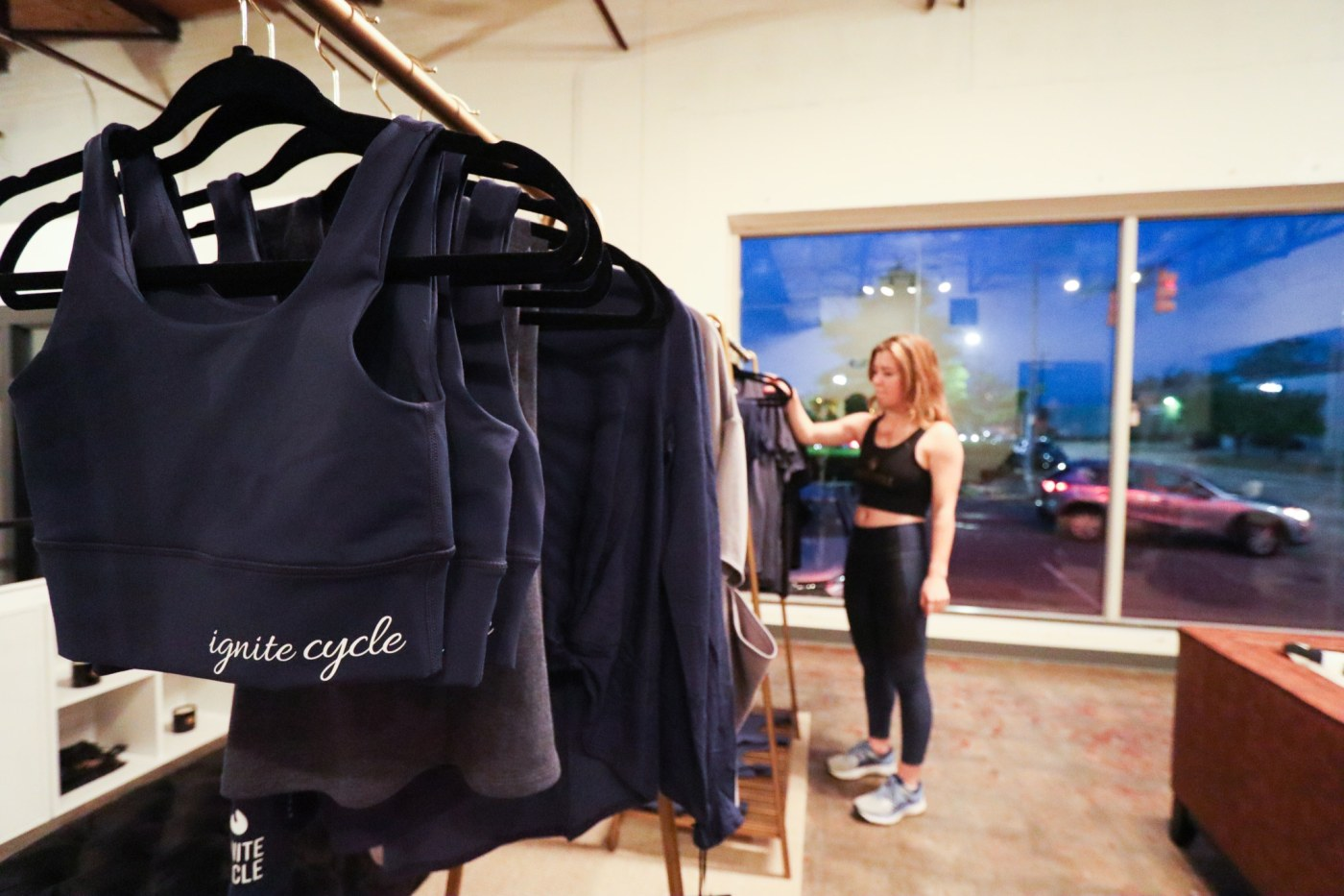 The studio sells great branded apparel specifically for indoor cycling. Or brunch. Athleisure wear knows no bounds.