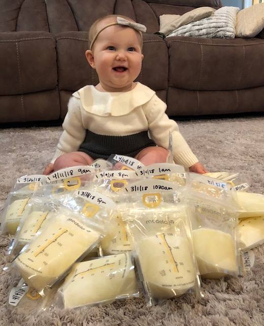 This little girl's mama donated extra milk in honor of her big brother, who passed away in November 2016.
