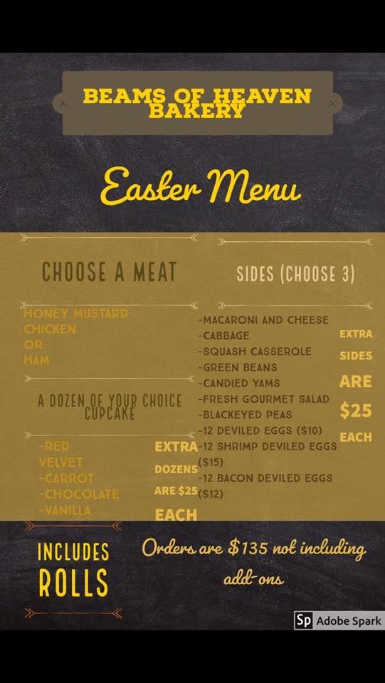 Easter dinner menu from Beams of Heaven Bakery in Birmingham, Alabama