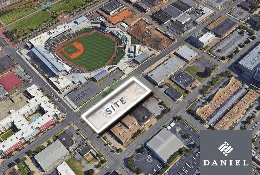 The Daniel Corporation luxury apartment complex will be located directly across from Regions Field and steps away from Good People Brewing Co.