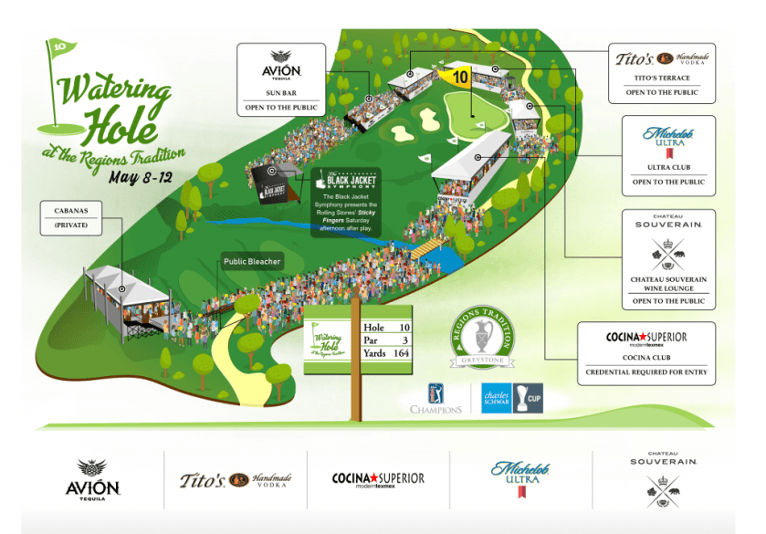 The 2019 layout of the Watering Hole at the Regions Tradition at Greystone Golf and Country Club.