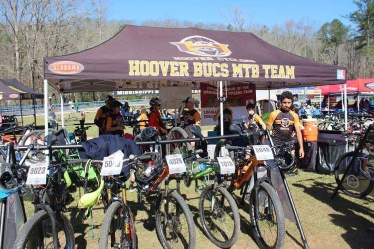 The Hoover Bucs team has a tent at each mountain biking race.