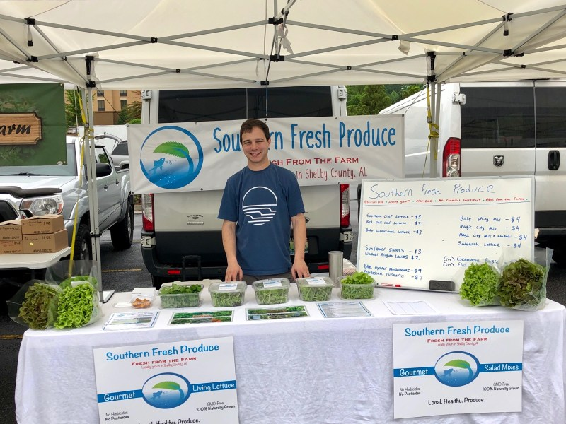 Kyle Raburn with Southern Fresh Produce at a local market.