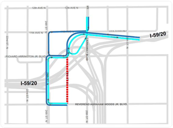 59/20 update: 25th Street between Abraham Woods Blvd. and Arrington Blvd, closing for 2 months