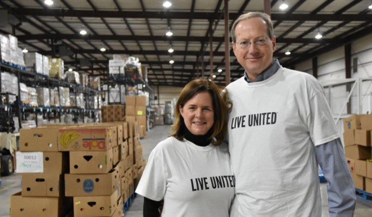 Jeff and Linda Stone at the Community Food Bank