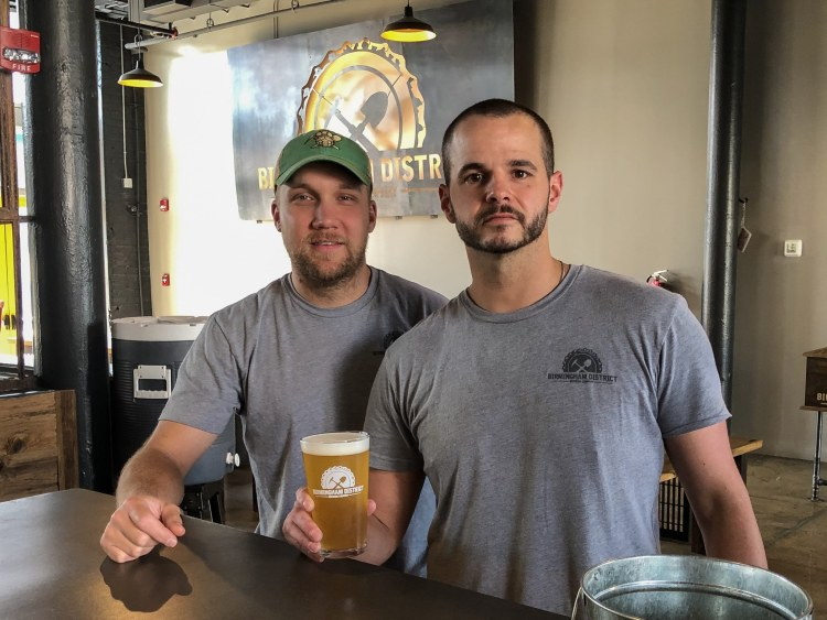 Birmingham District Brewing, makers Cale Sellers and James Sumpter show off Salty Amigose. A lime, sea salt and coriander based beer. Made in Birmingham, AL.