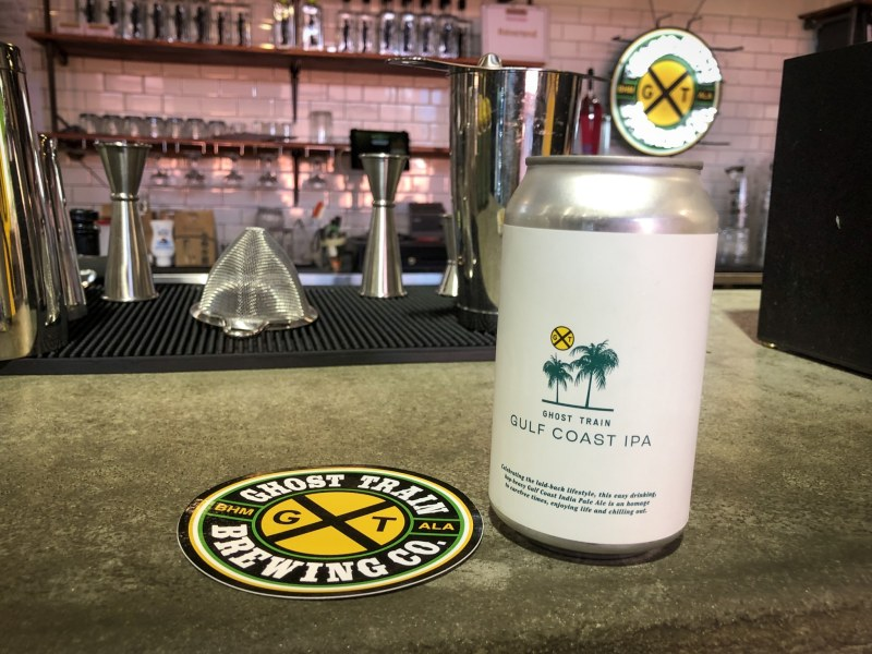 Gulf Coast IPA, a summer thirst quencher made by Ghost Train Brewing Co, Birmingham, AL.