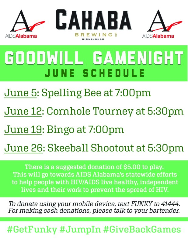 Cahaba Brewing is hosting Goodwill Gamenights.