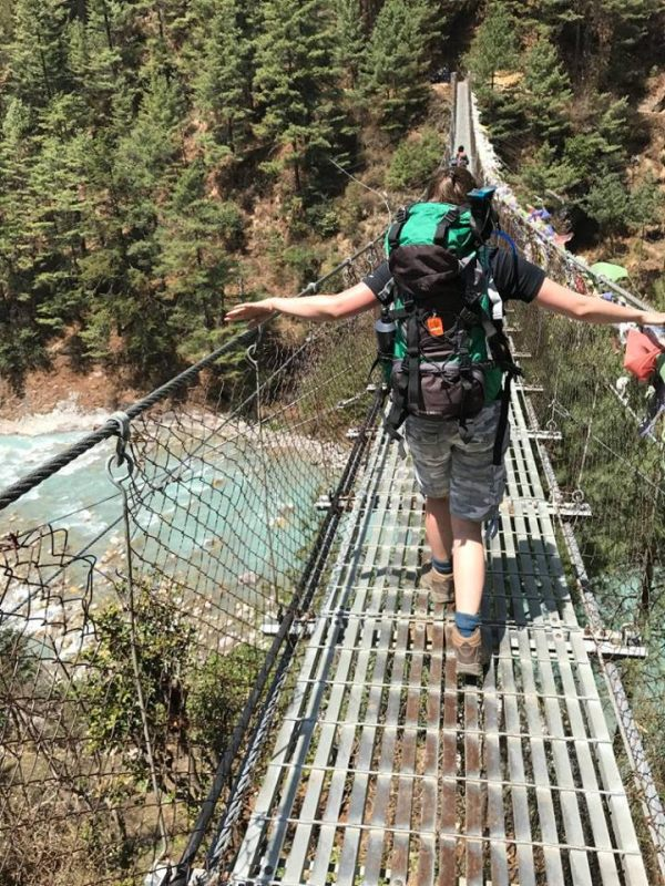 Crossing a bridge on the way to Everest Base Camp.