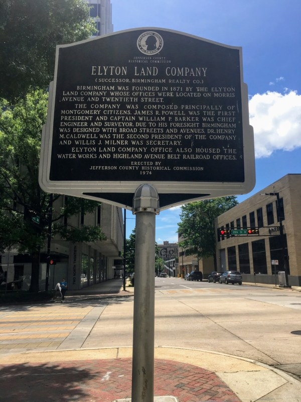 The Elyton Land Company used to have its office at the intersection of Morris Avenue and 20th Street.