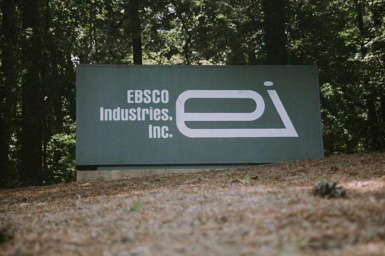 EBSCO Industries Headquarters sign in Birmingham, Alabma