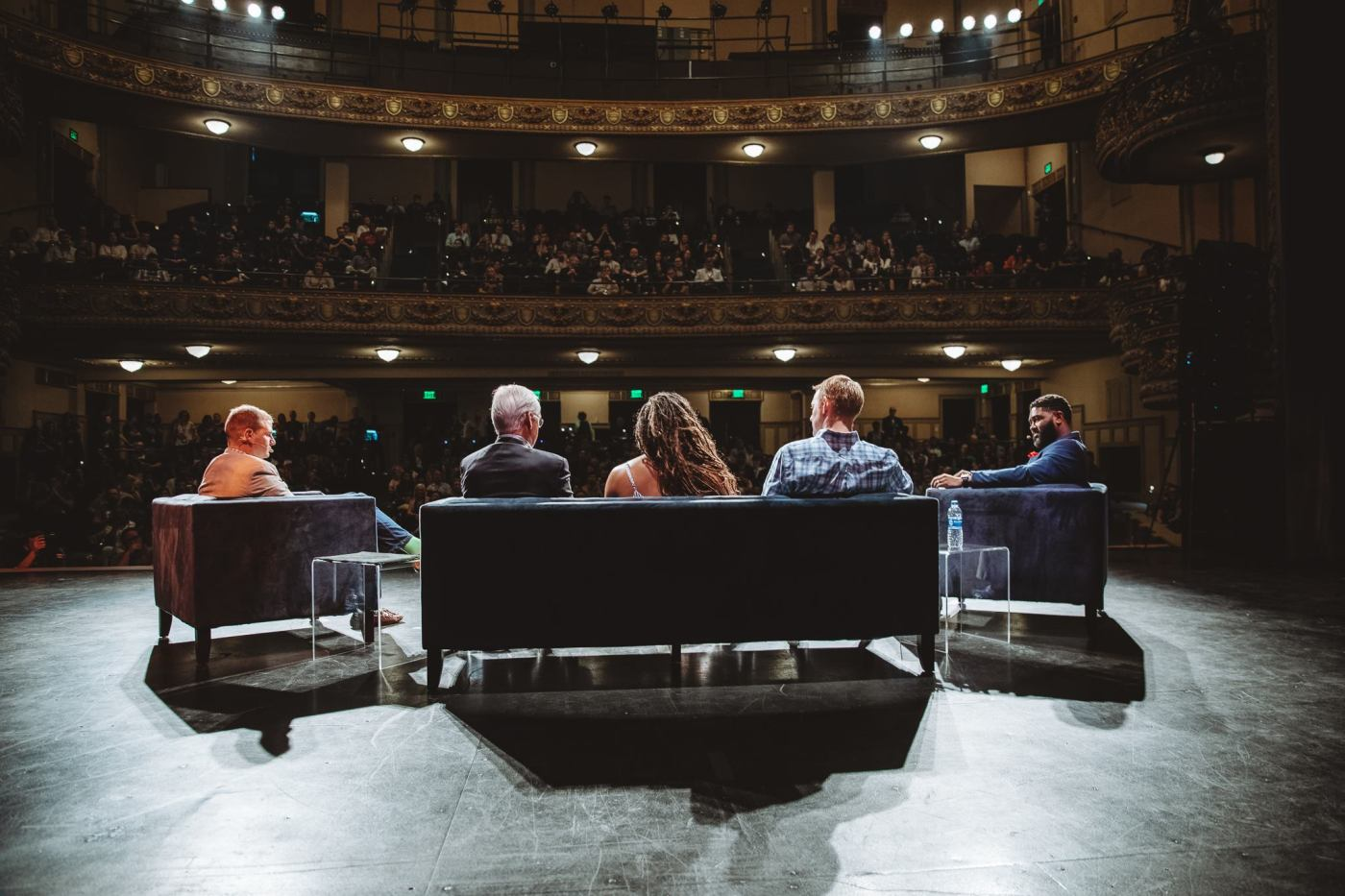 """2018 Sloss Tech """"Level Up Birmingham"""" panel—view from the back of the stage looking out."""