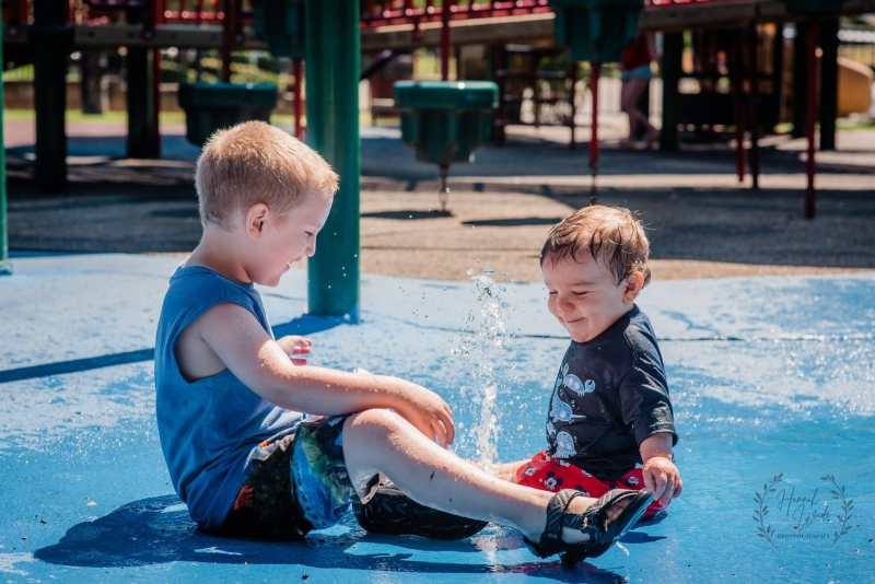 Two boys having so much fun at Jasper Memorial Park.