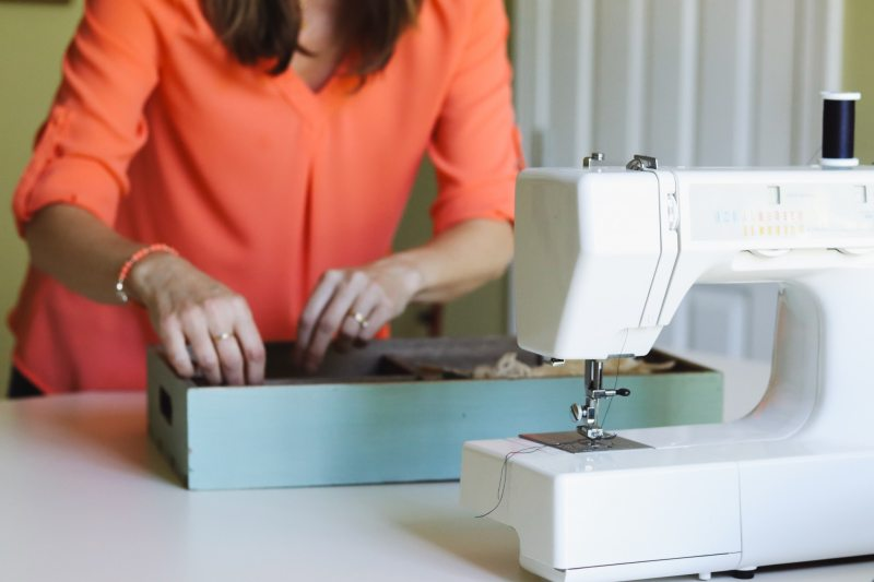 There's a nice clean workspace in Sheila's Closets by Design sewing room.
