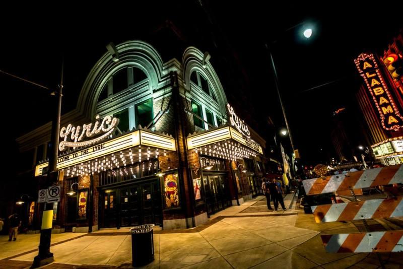Lyric and Alabama Theatres are lit.