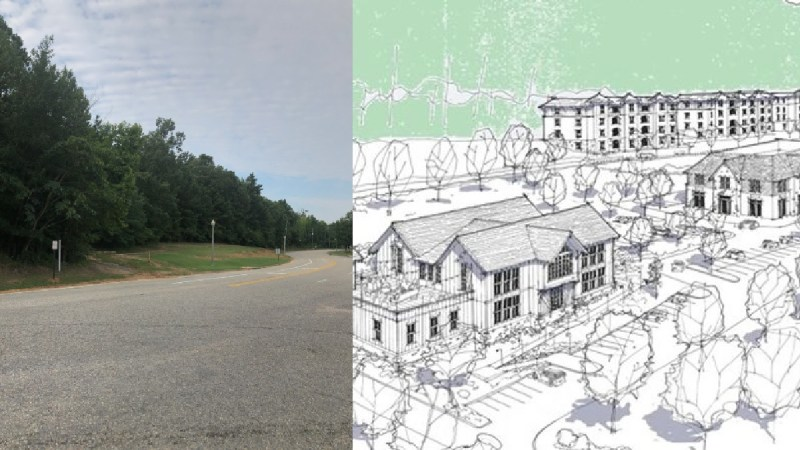 Amphitheater Road in Pelham next to concept drawing of The Canopy at Oak Mountain mixed-use development