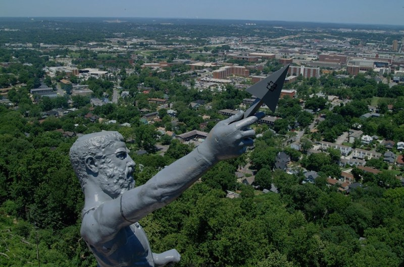 Vulcan statue with Birmingham in the background