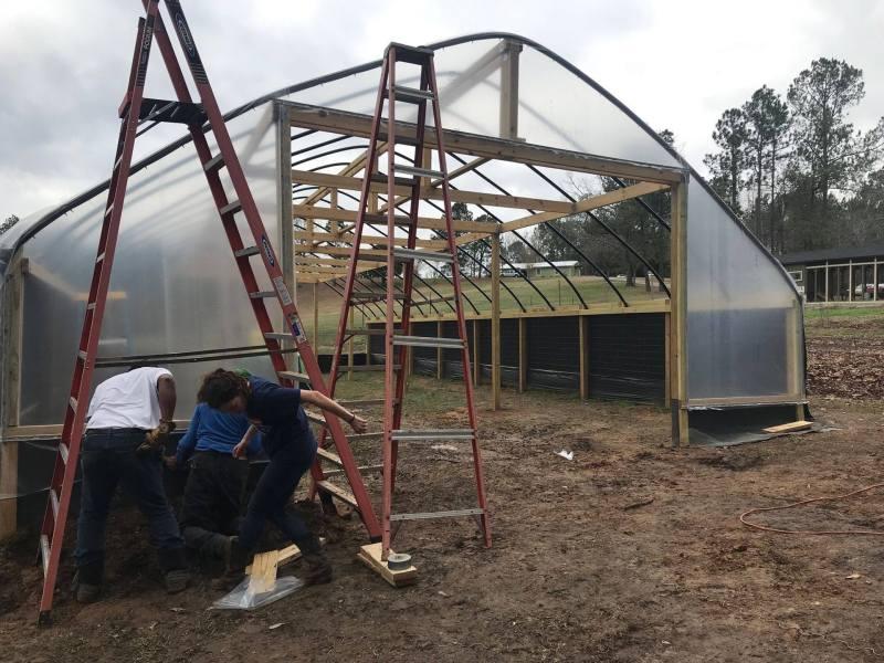 The King's Garden hoop house under construction