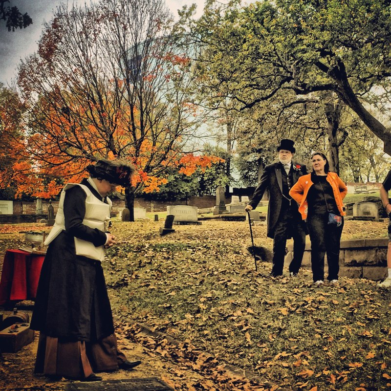 Actors at Oak Hill Cemetery.