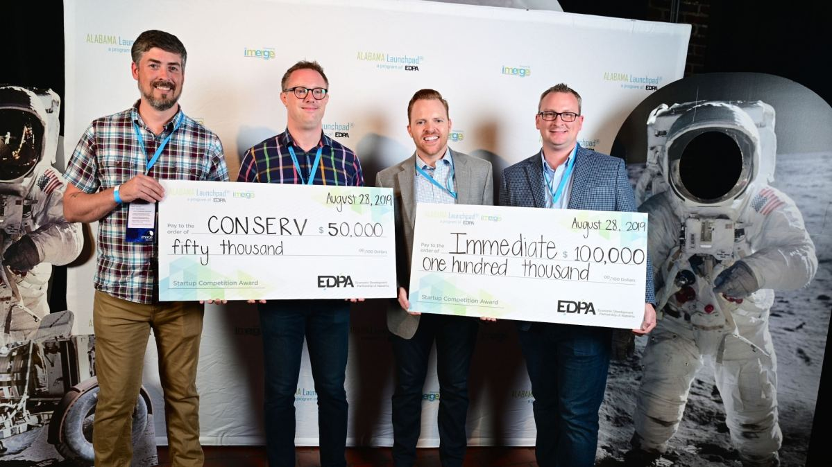 Birmingham startups Immediate and Conserv win combined $150K at Alabama Launchpad imerge2019 event