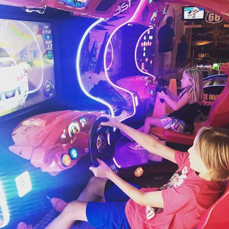 kids play a racing game