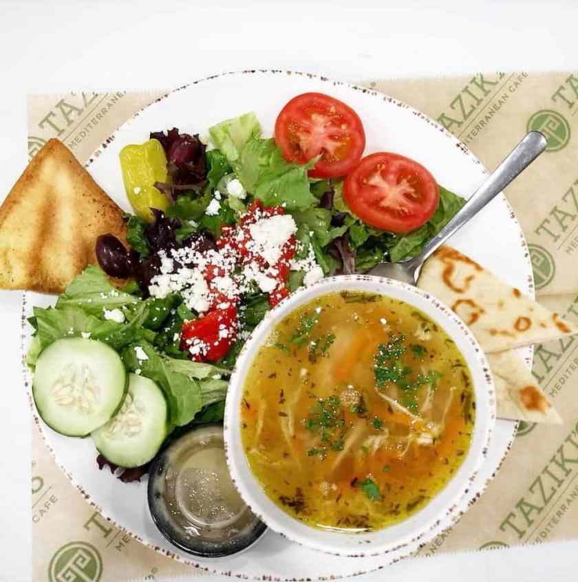 Chicken soup and salad