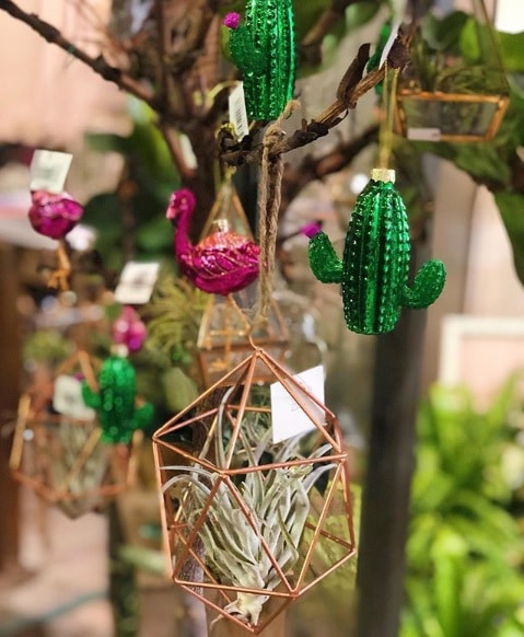 Cactus and Flamingo ornaments for your Christmas tree.