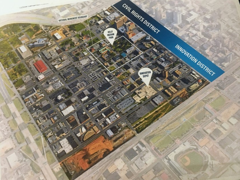 The Civil RIghts District and the Innovation District make up key parts of downtown Birmingham's northwest quadrant