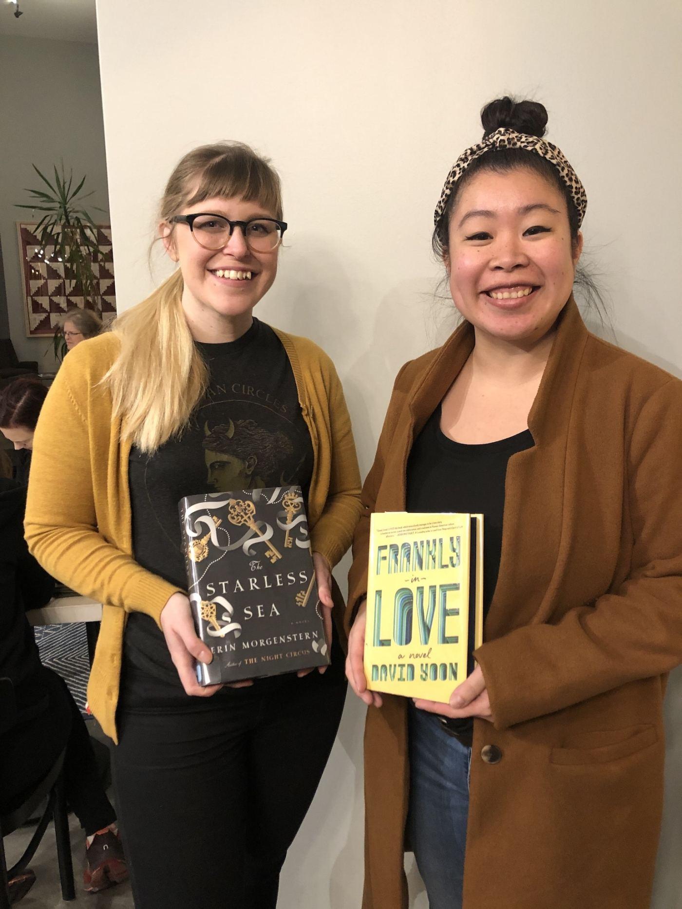 Photo of Silent Book Club founders Madison Newport and Megan Tsang Hand