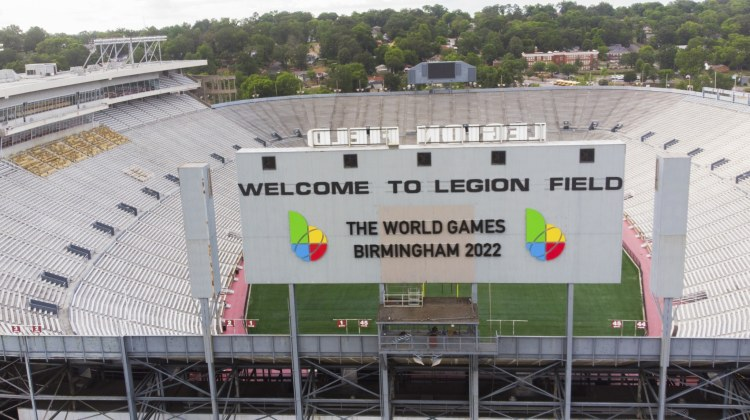 new signs for a big sporting event in Birmingham