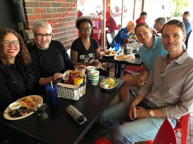 AIDS Alabama staff eating outside Rojo for Dining Out for Life 2019