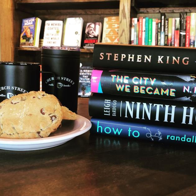 Breakup cookie and stack of books from Church Street Coffee and Books - Birmingham coffee shops