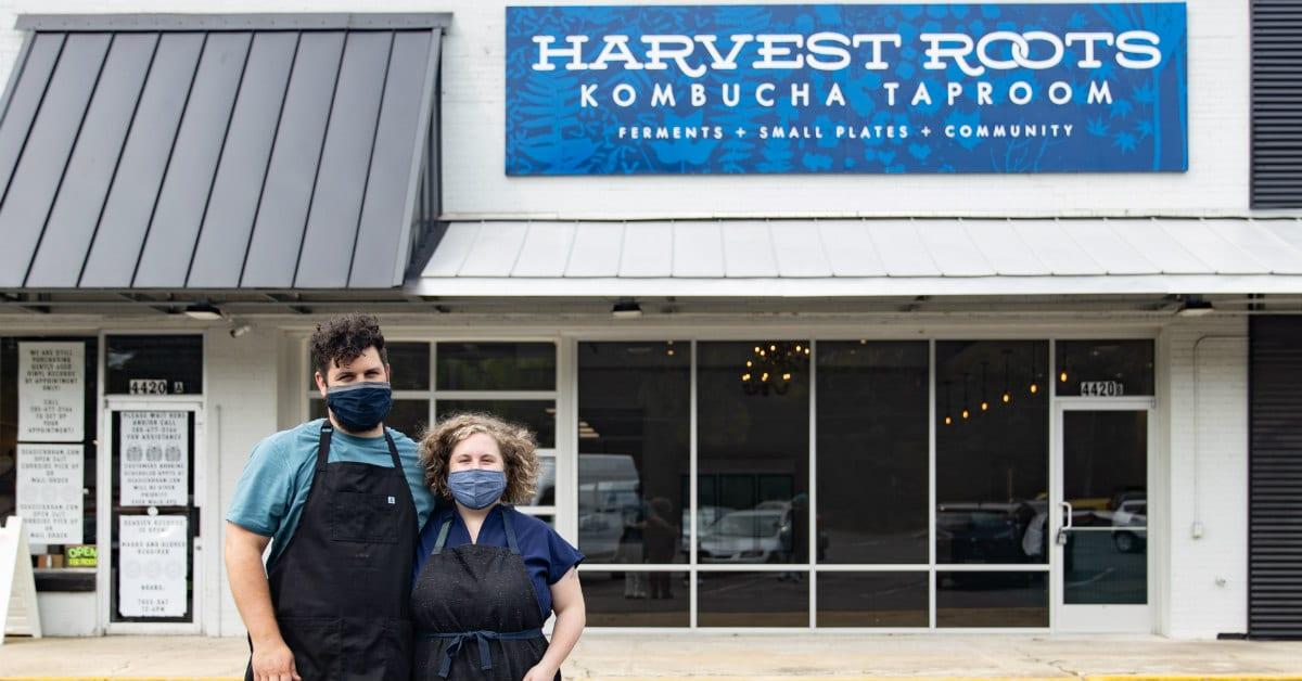 Pete Halupka and Lindsay Whiteaker outside of Harvest Roots Kombucha Taproom
