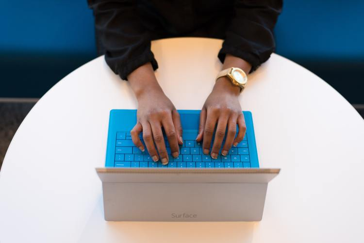 Person working on tablet