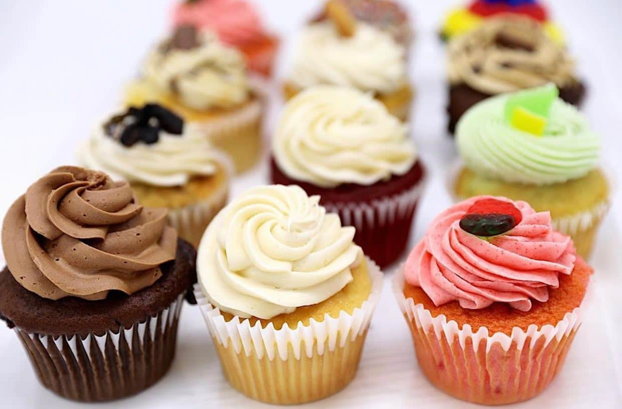 Rows of different flavored cupcakes from CakEffect, dessert place in Hoover, AL