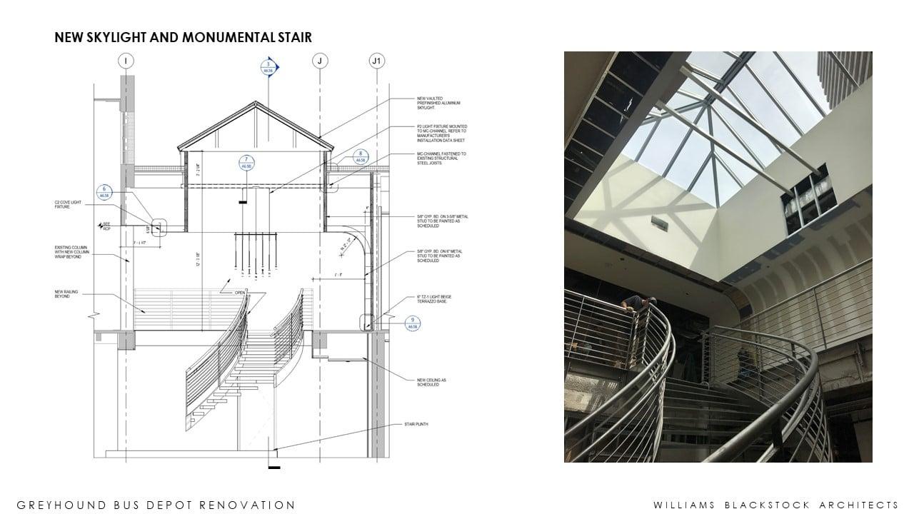 la monumental escalera de la rehecha estación de galgos de Birmingham