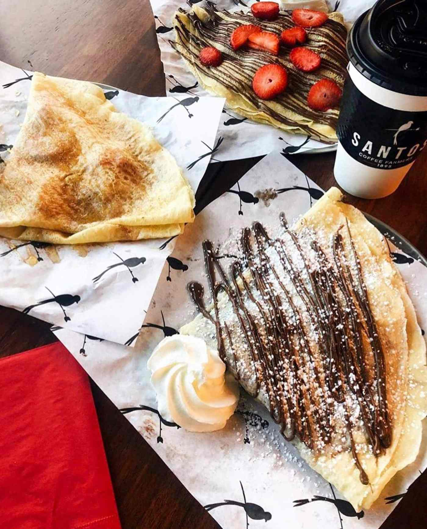 Sweet crepes with chocolate drizzle from Santos Coffee