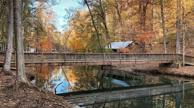 Picture of bridge over a lake with trees changing colors in the background