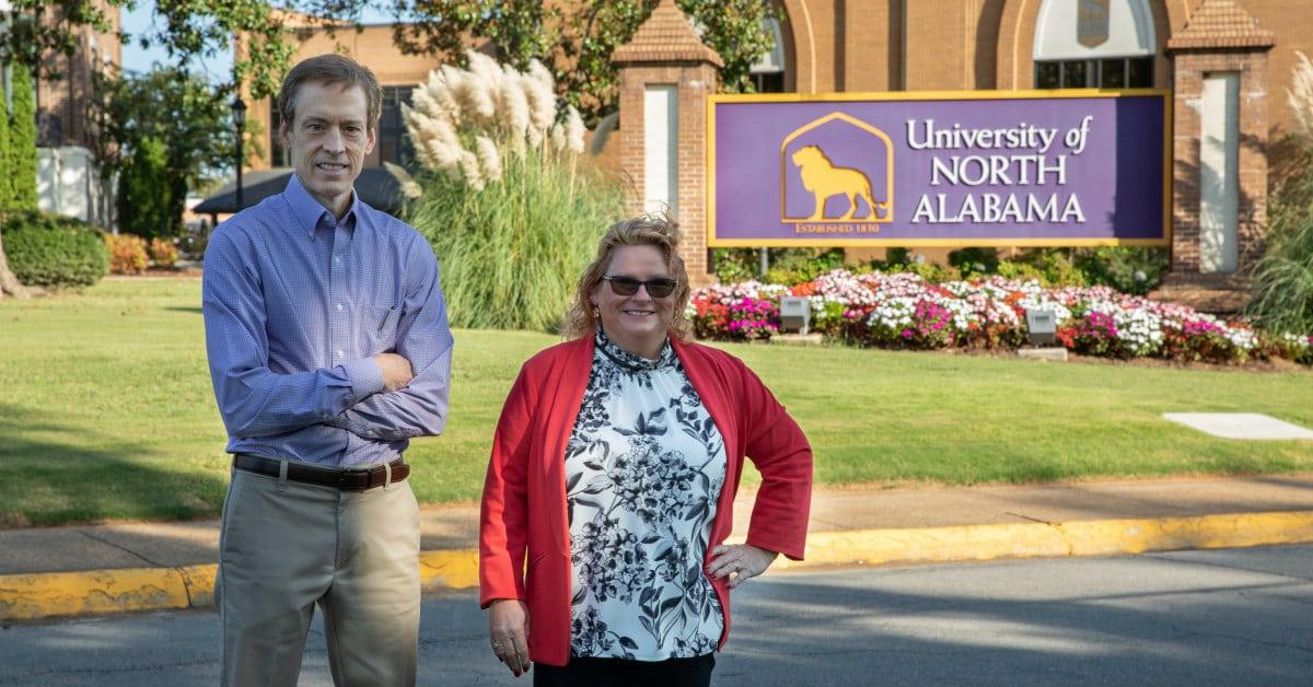 Dr. Parnell + Dr. Kutz, professors on UNA's EDBA program