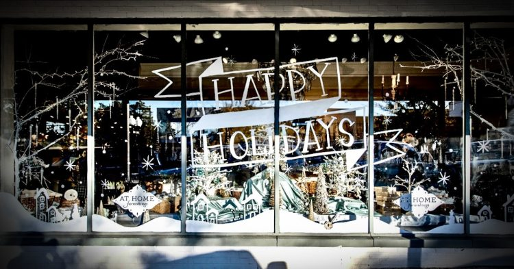 Happy Holidays window display