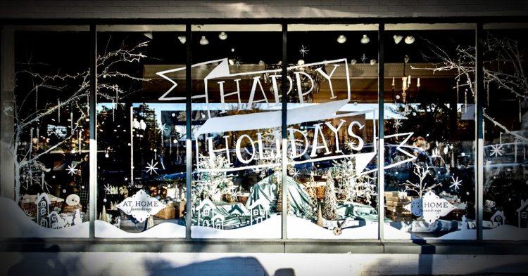 Happy Holidays window display