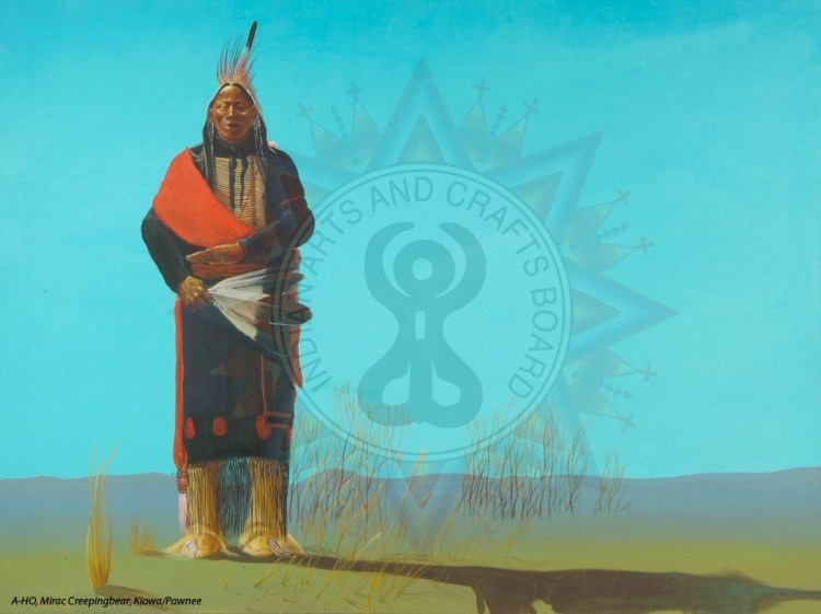 Native American man and Indian Arts and Crafts Board logo