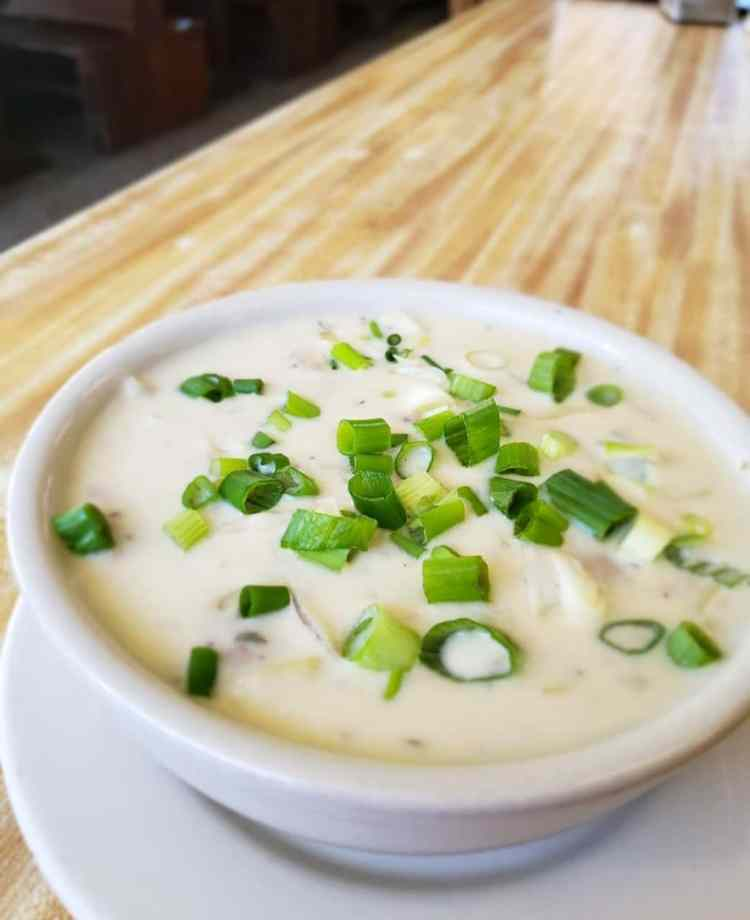 Potato and leek soup from Golden Temple