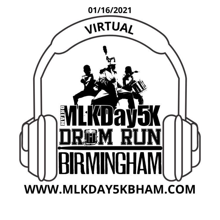 MLK Day Drum Run Virtual 5K flyer, MLK Day events in Birmingham