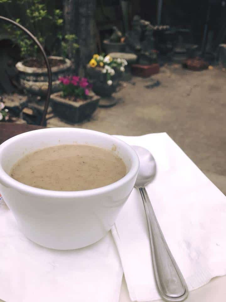 Mushroom and sage soup in The Garage courtyard