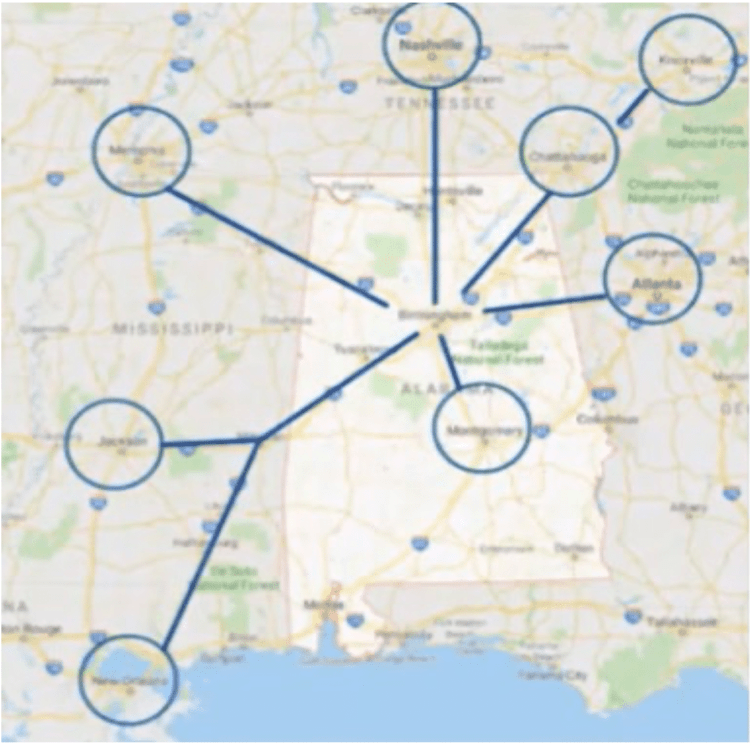 Alabama trafficking map