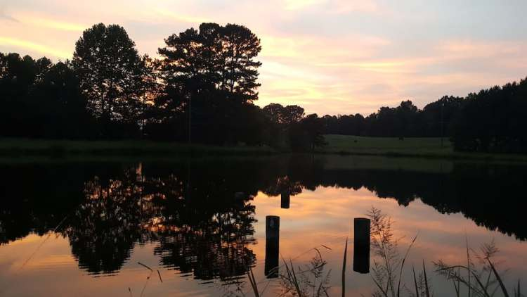 Sunset over pond - Birmingham getaways