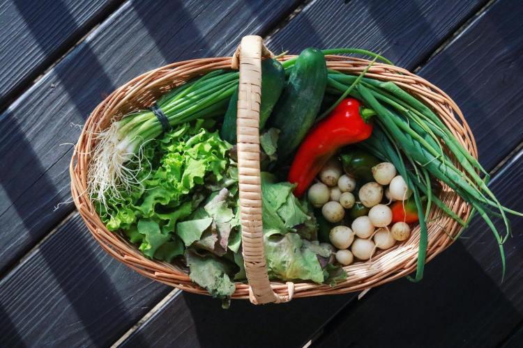 basket of veggies from BDA farms farmers markets in Birmingham