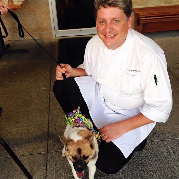 FoodBar owner George and Pig the dog outdoor dining in Birmingham